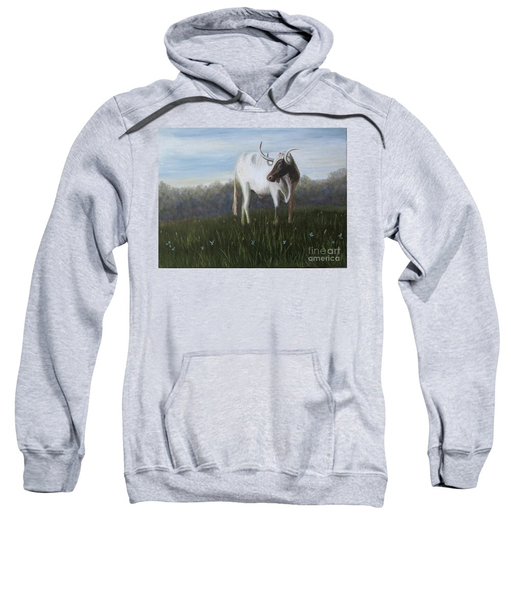 Cow Sweatshirt featuring the painting Handsome Longhorn by Donnis Crowe