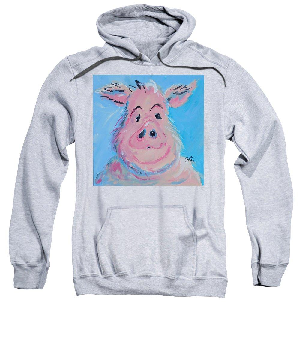 Pig Sweatshirt featuring the painting Hank by Terri Einer