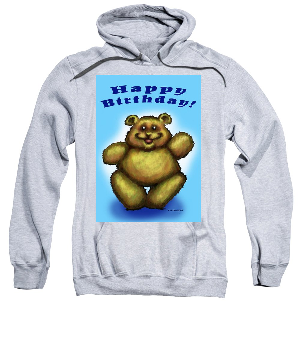 Happy Birthday Sweatshirt featuring the greeting card Happy Birthday Bear by Kevin Middleton