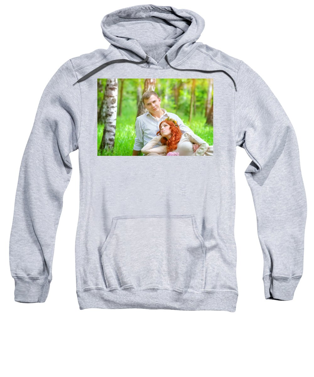 Adult Sweatshirt featuring the photograph Happy Couple In A Park by Anna Om