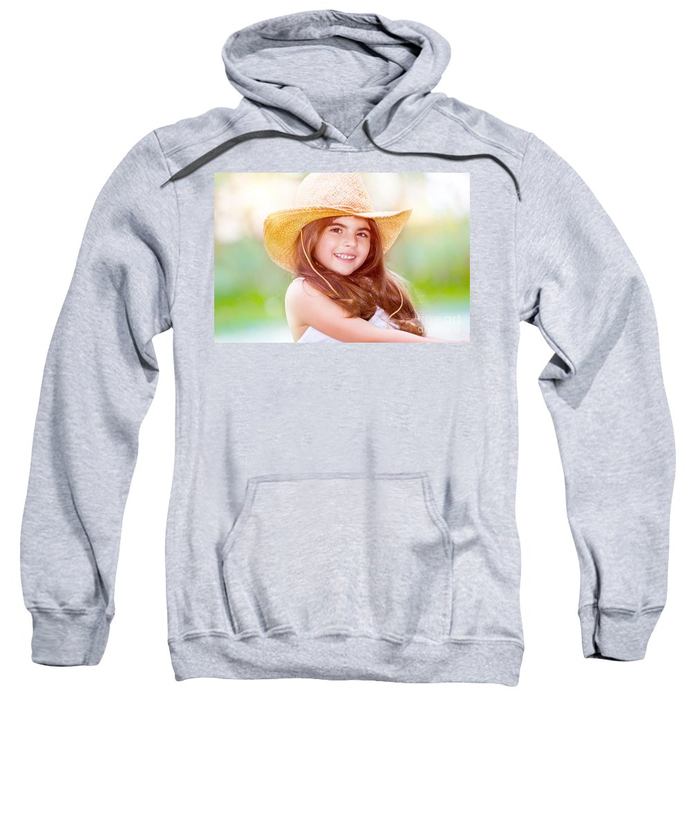 Accessories Sweatshirt featuring the photograph Happy Cute Girl Portrait by Anna Om