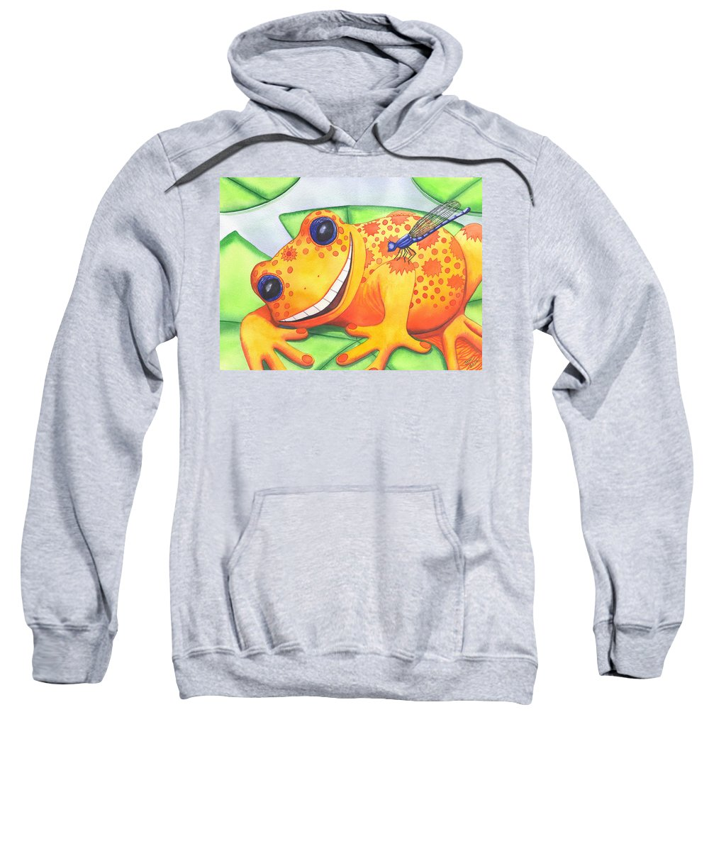 Frog Sweatshirt featuring the painting Happy Frog by Catherine G McElroy