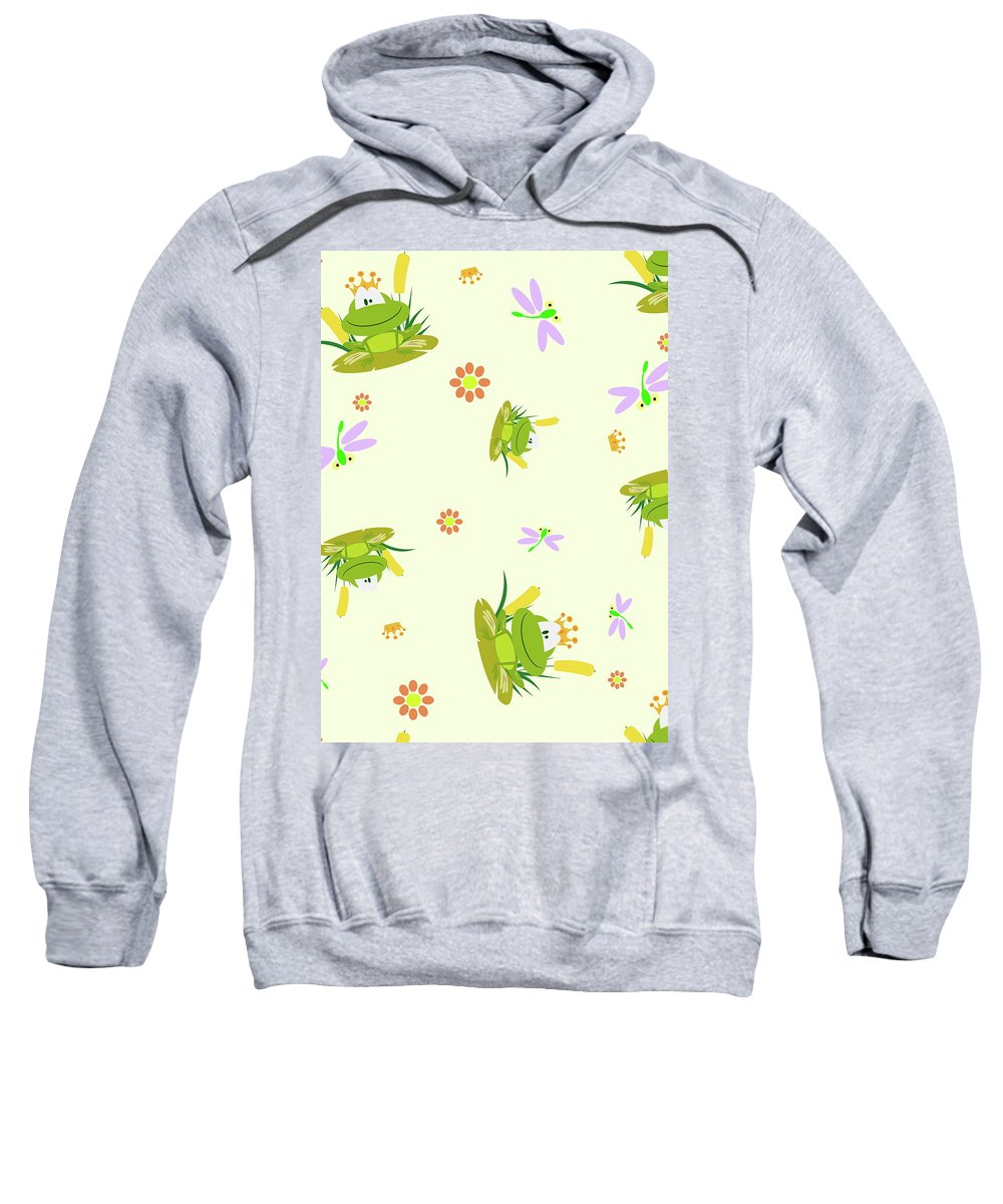 Froks Sweatshirt featuring the drawing Happy Frogs by Patrick Hoenderkamp