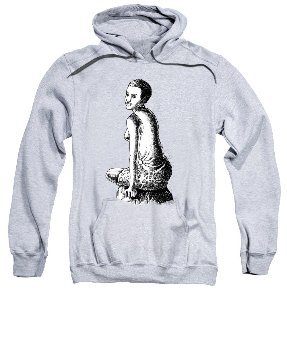 Biro Sweatshirt featuring the mixed media Happy Girl by Anthony Mwangi