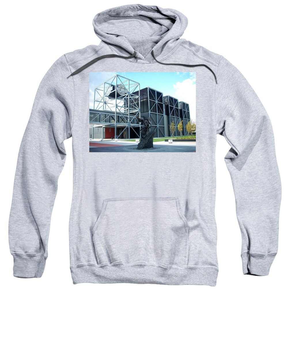 Architechture Sweatshirt featuring the photograph Harley Museum And Statue by Anita Burgermeister