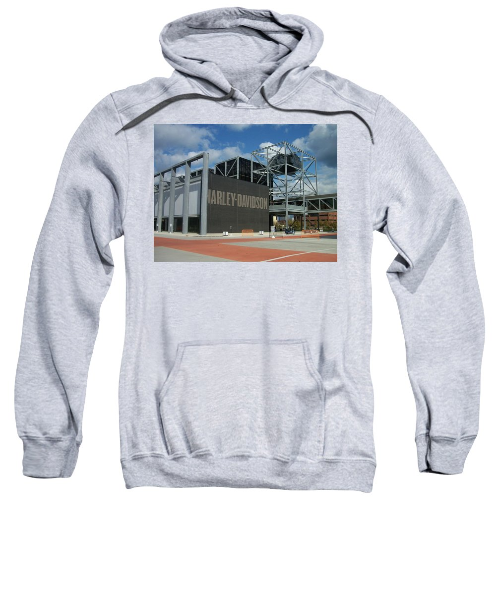 Sweatshirt featuring the photograph Harley Museum by Anita Burgermeister