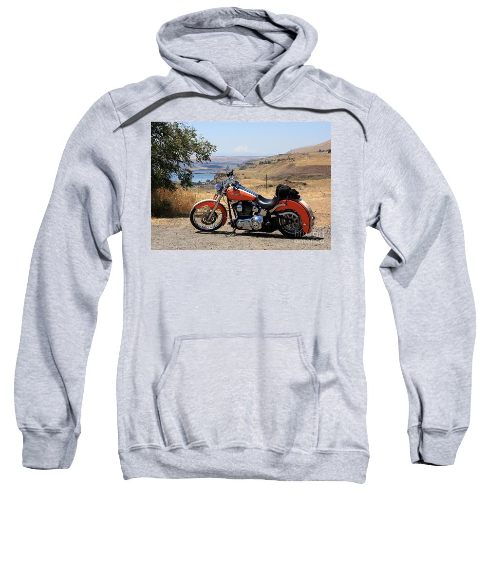 Washington State Sweatshirt featuring the photograph Harley With Columbia River And Mt Hood by Carol Groenen