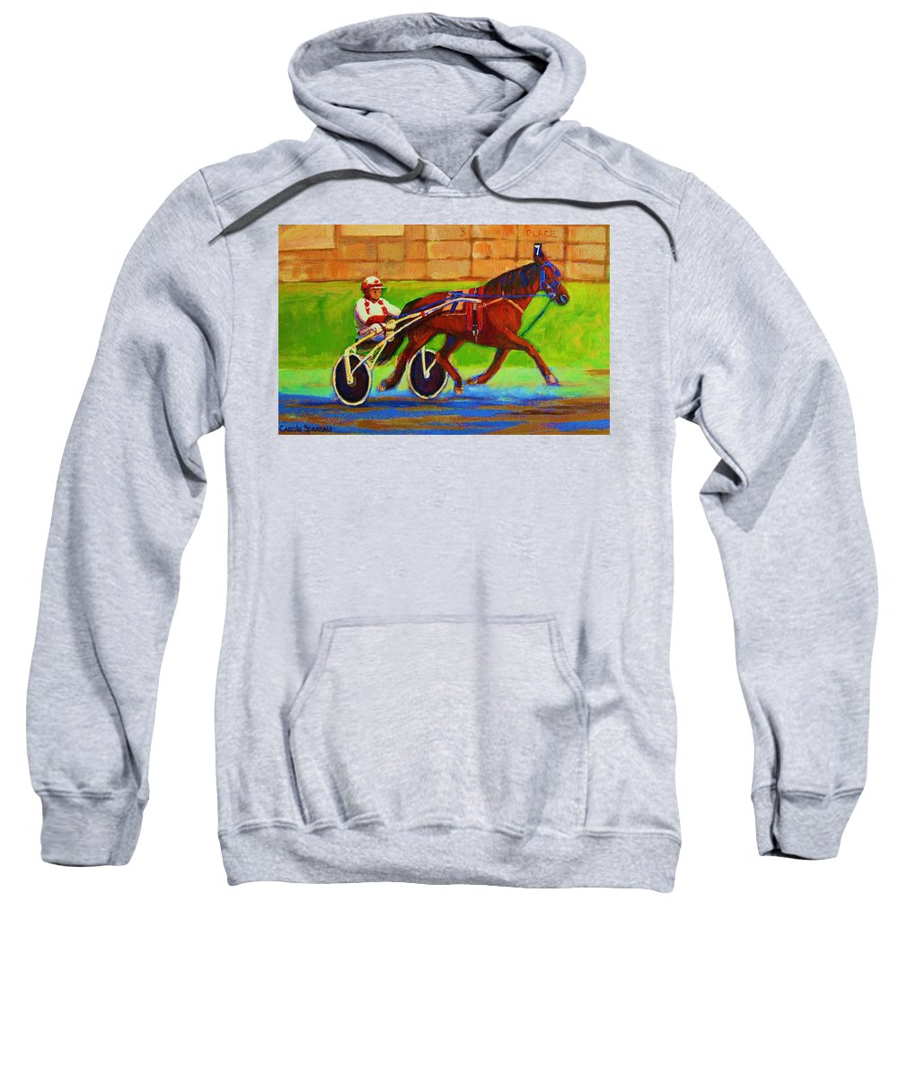 Harness Racing Sweatshirt featuring the painting Harness Racing At Bluebonnets by Carole Spandau
