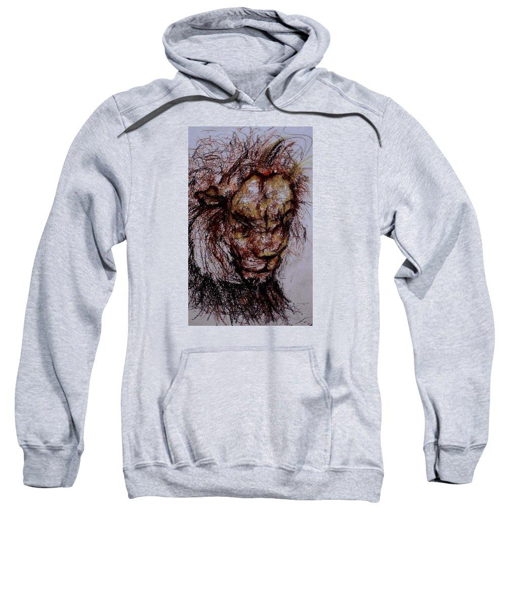 African Lion Sweatshirt featuring the drawing Harsh by Arlene Rabinowitz