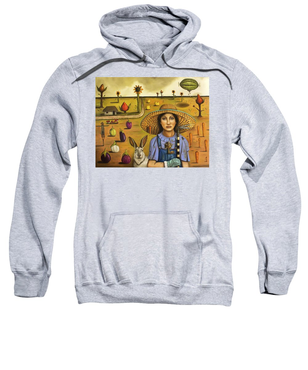 Rabbit Sweatshirt featuring the painting Harvey And The Eccentric Farmer by Leah Saulnier The Painting Maniac