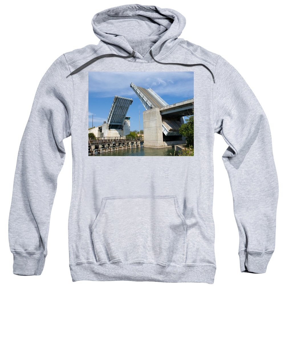 Haulover; Haul; Over; Canal; Waterway; Florida; Drawbridge; Draw; Bridge; Open; Swing; Scene; Scener Sweatshirt featuring the photograph Hauover Canal In Florida by Allan Hughes