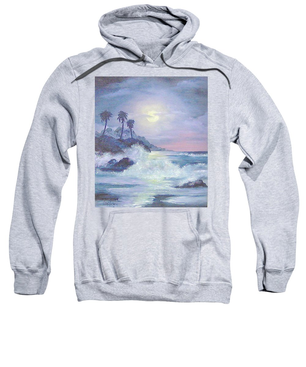 Seascape Sweatshirt featuring the painting Hawaii At Night by Faye Tracy