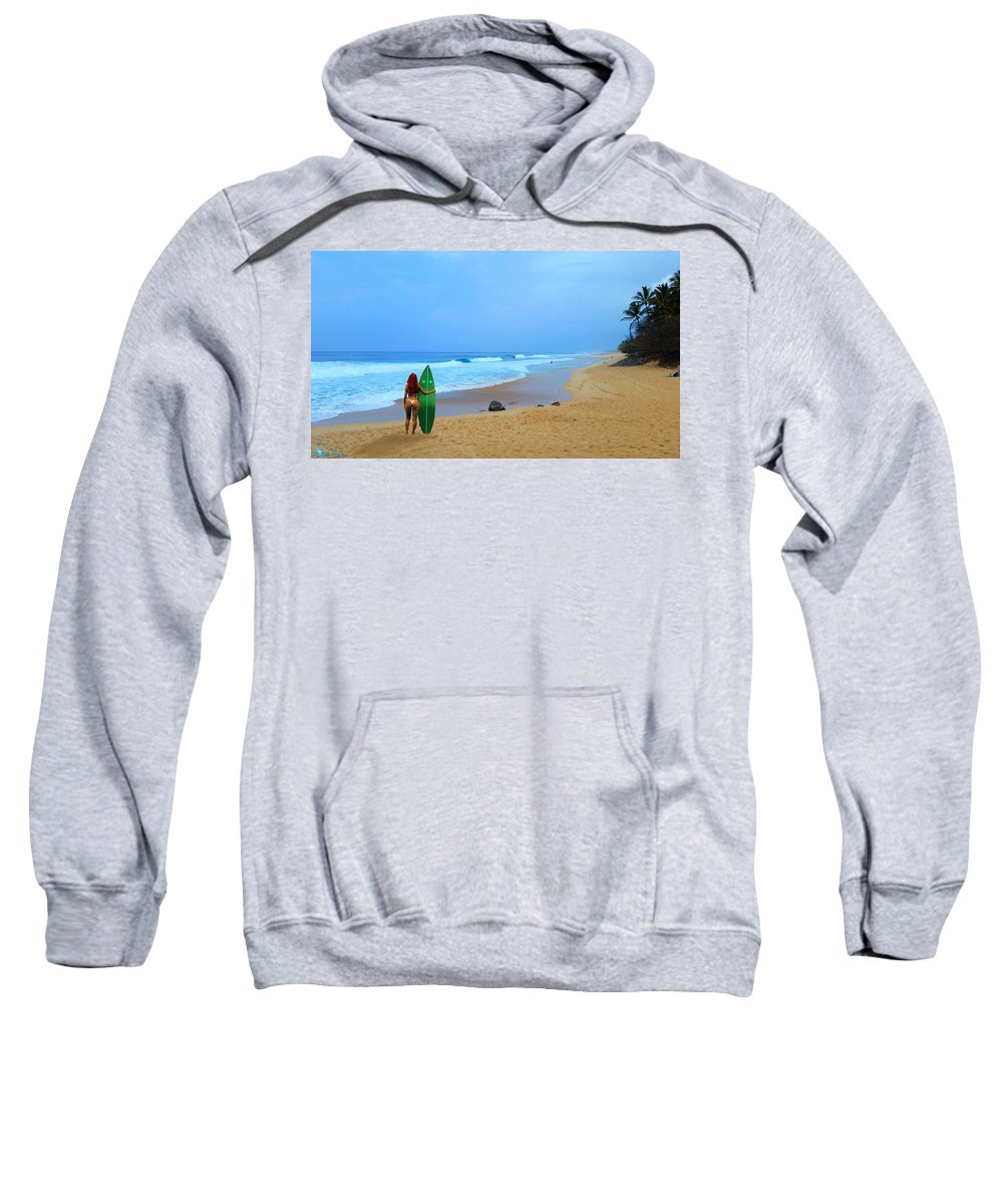 Oahu Sweatshirt featuring the photograph Hawaiian Surfer Girl by Michael Rucker
