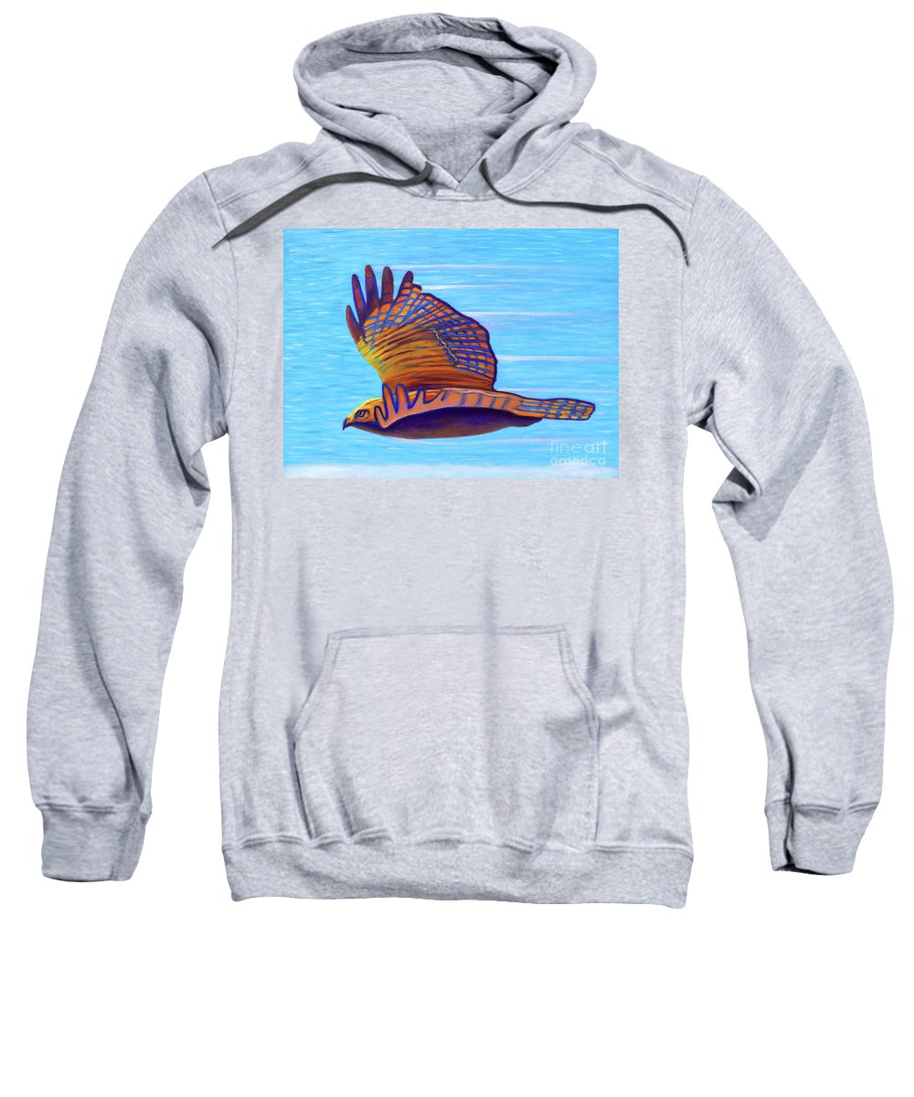 Hawk Sweatshirt featuring the painting Hawk Speed by Brian Commerford