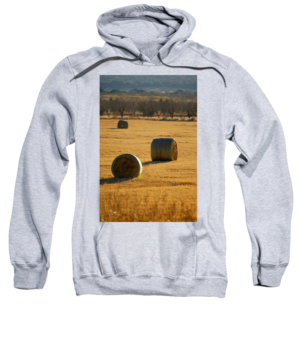 Country Sweatshirt featuring the photograph Hay Bales by Jill Reger