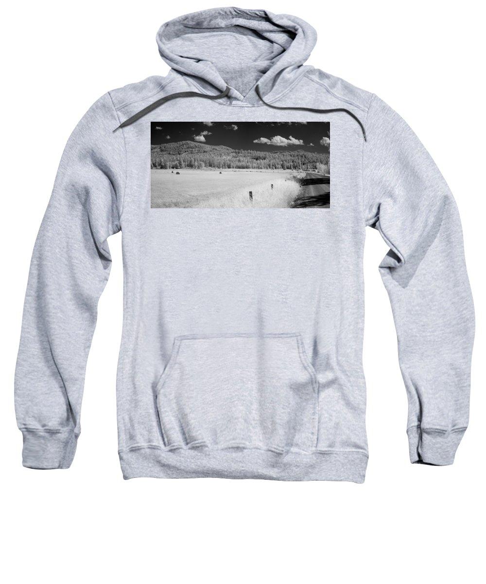 B&w Sweatshirt featuring the photograph Hayfield by Lee Santa