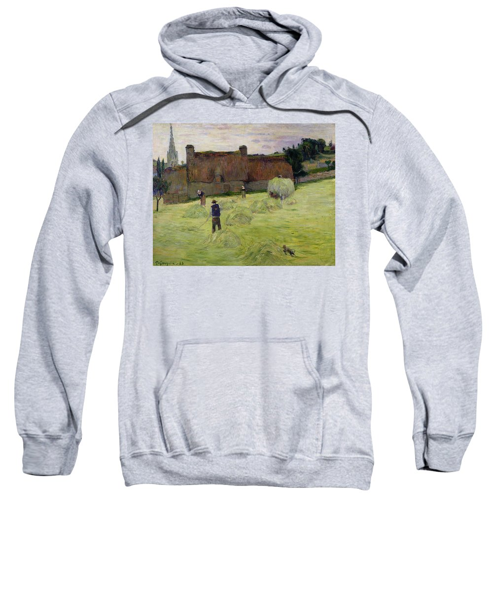 Haymaking In Brittany Sweatshirt featuring the painting Haymaking In Brittany by Paul Gauguin