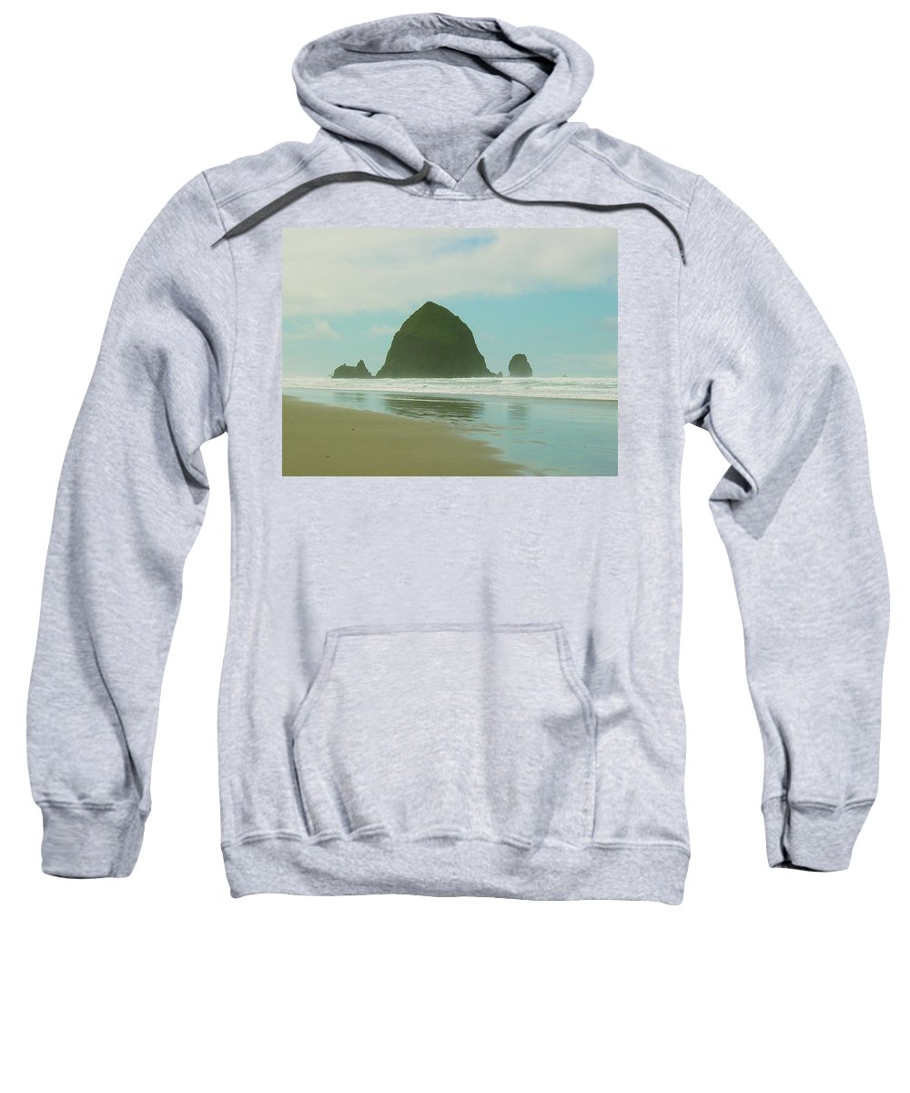 Oregon Coast Sweatshirt featuring the photograph Haystack Rock by Sara Stevenson