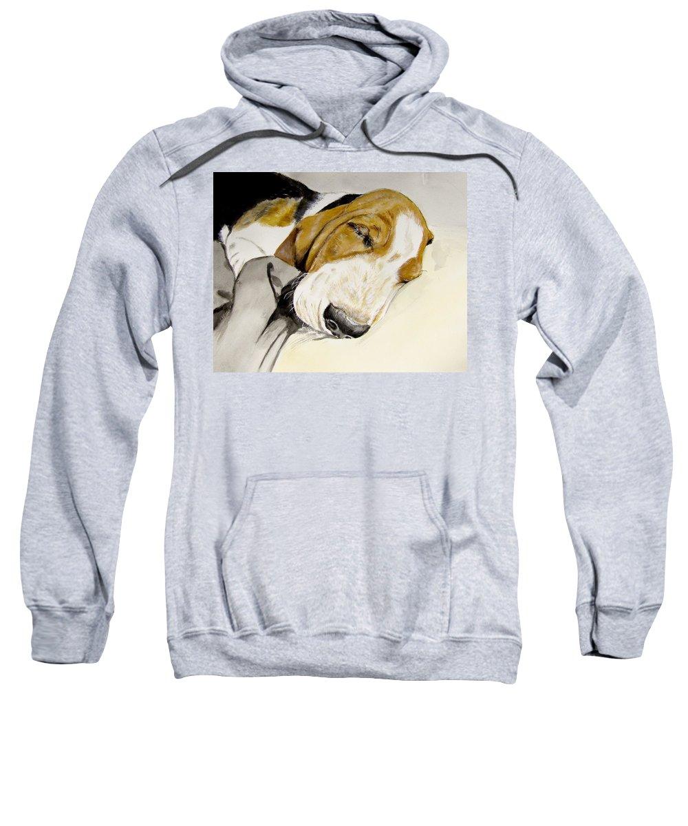 Basset Hound Painting Sweatshirt featuring the painting Hazel First Portrait by Carol Blackhurst