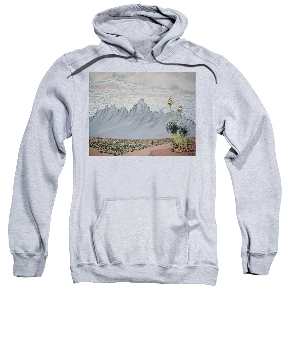 Desertscape Sweatshirt featuring the painting Hazy Desert Day by Marco Morales