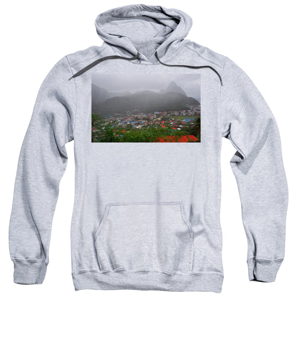 St. Lucia Sweatshirt featuring the photograph Hazy Pitons by Gary Wonning