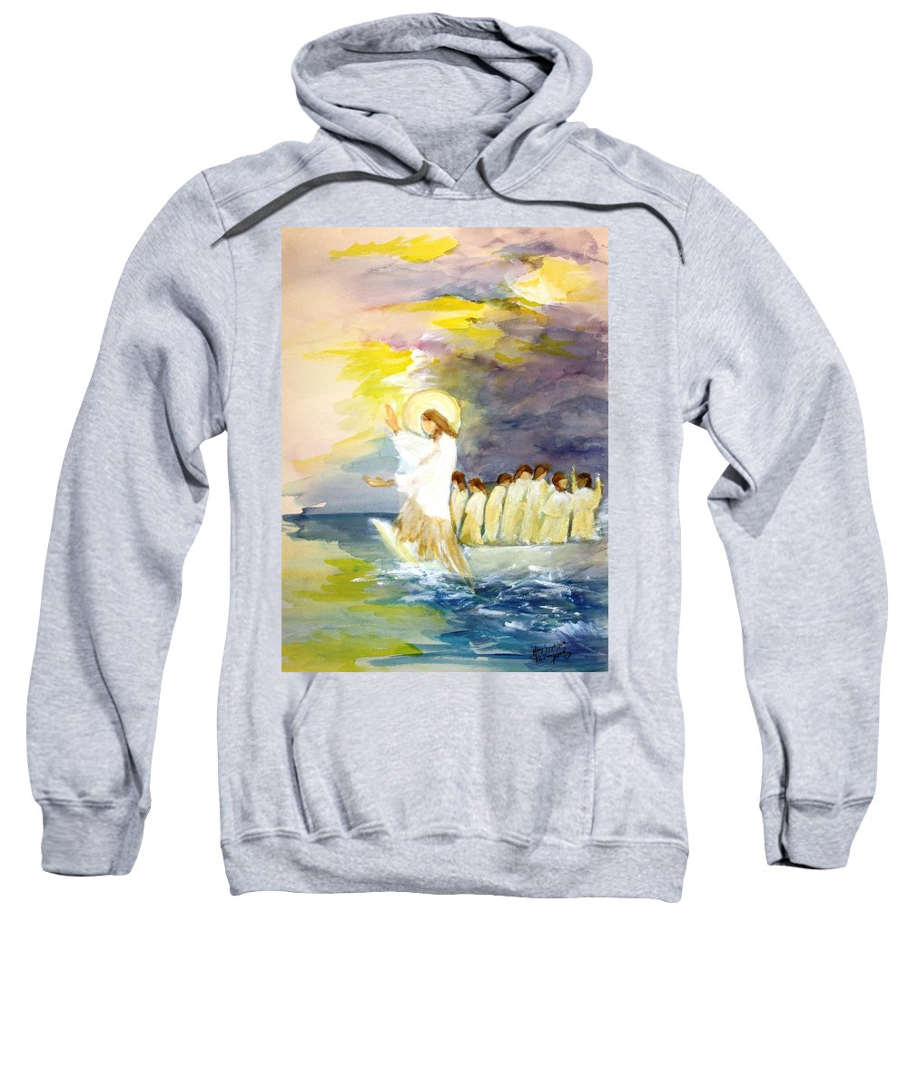 Jesus Sweatshirt featuring the painting He Calms The Waters by Mary Spyridon Thompson