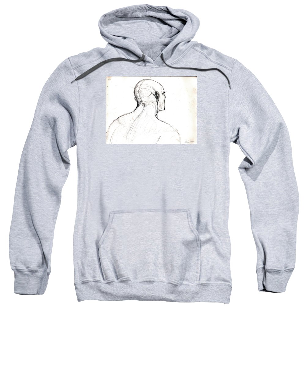 Sketch Sweatshirt featuring the drawing Head, Back View by Miquel Sirera