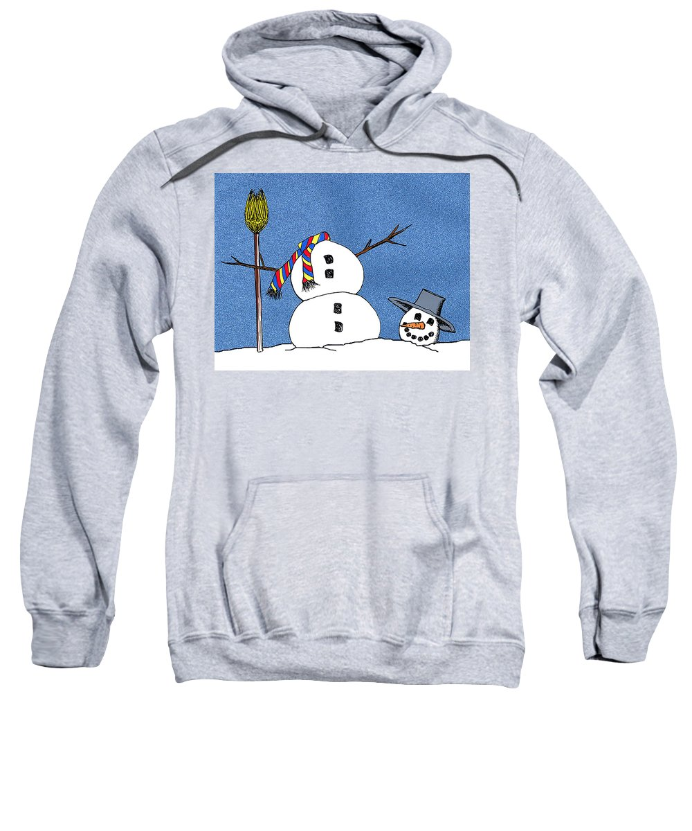 Snowman Sweatshirt featuring the digital art Headless Snowman by Nancy Mueller