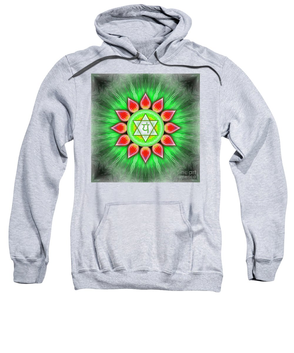 Chakra Sweatshirt featuring the digital art Heart Chakra - Series 4 by Dirk Czarnota