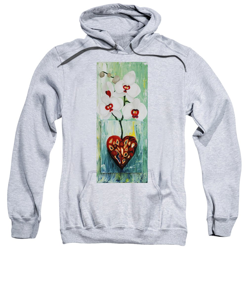 Heart In Bloom Sweatshirt featuring the painting Heart In Bloom by Catt Kyriacou