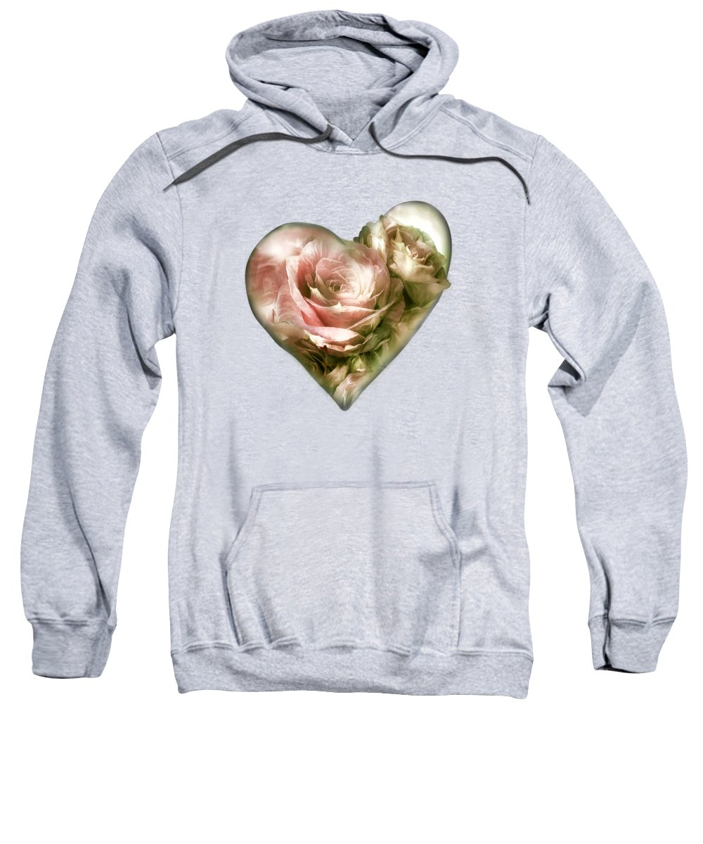 Rose Sweatshirt featuring the mixed media Heart Of A Rose - Antique Pink by Carol Cavalaris