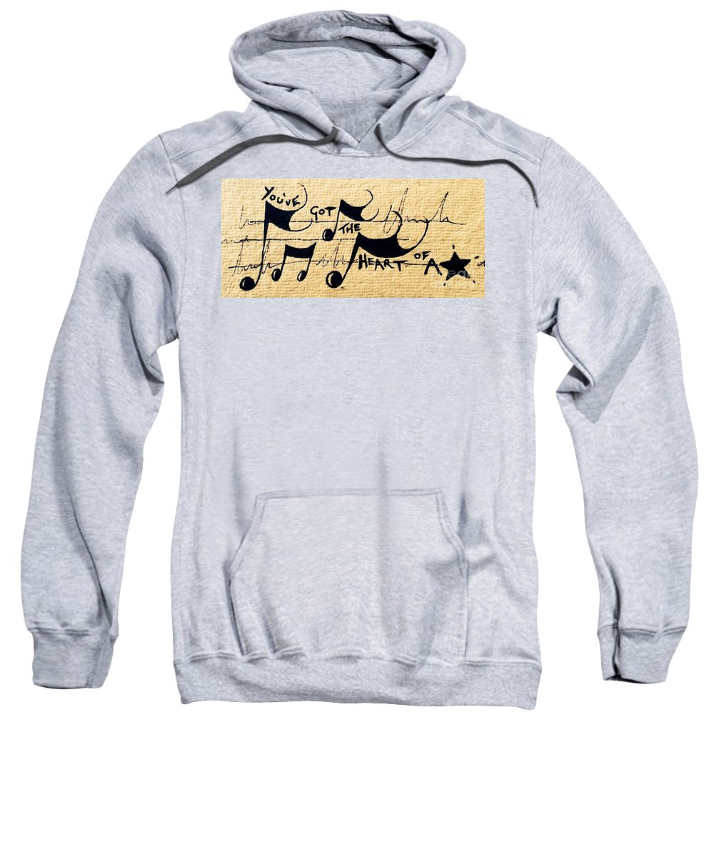 Music Sweatshirt featuring the drawing Heart Of A Star by Lowkey Luciano
