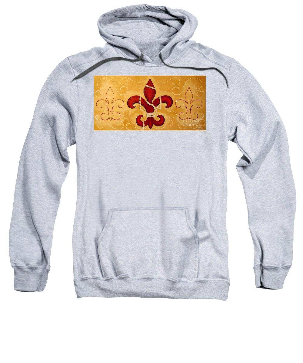 Fleur De Lis Sweatshirt featuring the painting Heart Of New Orleans by Valerie Carpenter