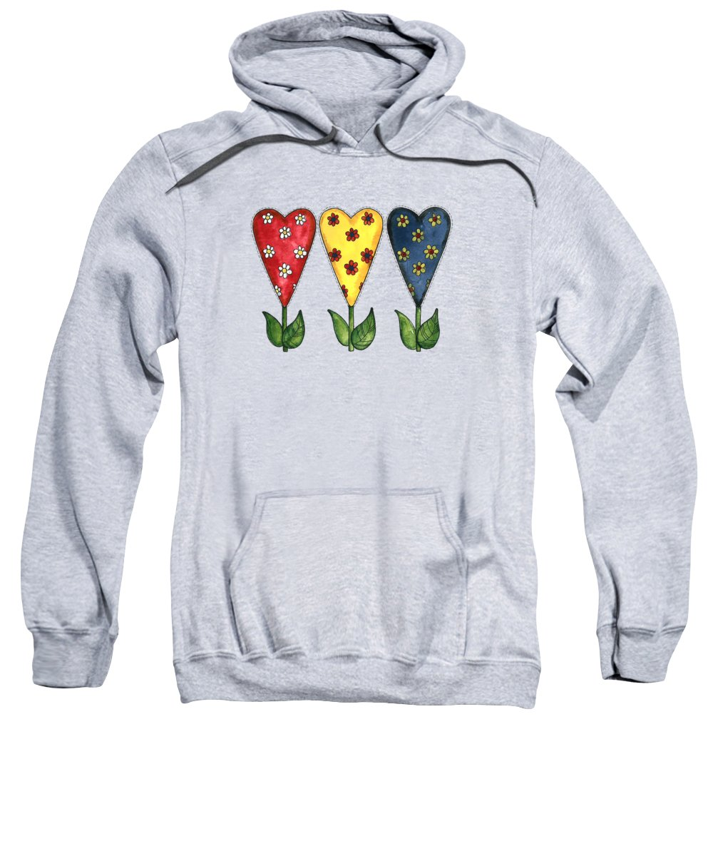 Hearts Sweatshirt featuring the painting Hearts And Flowers by Shelley Wallace Ylst