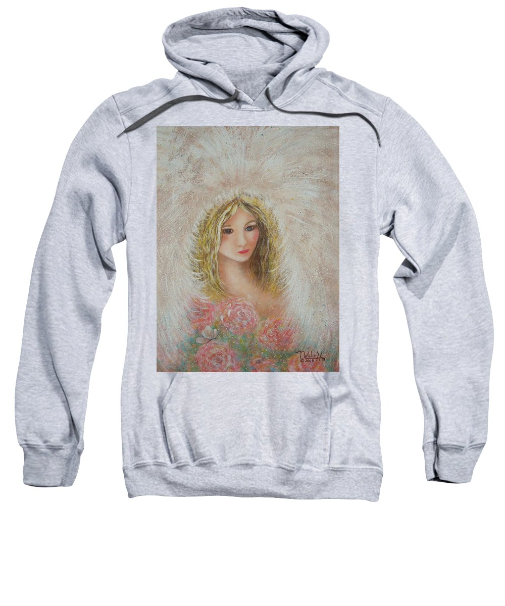 Angel Sweatshirt featuring the painting Heavenly Angel by Natalie Holland