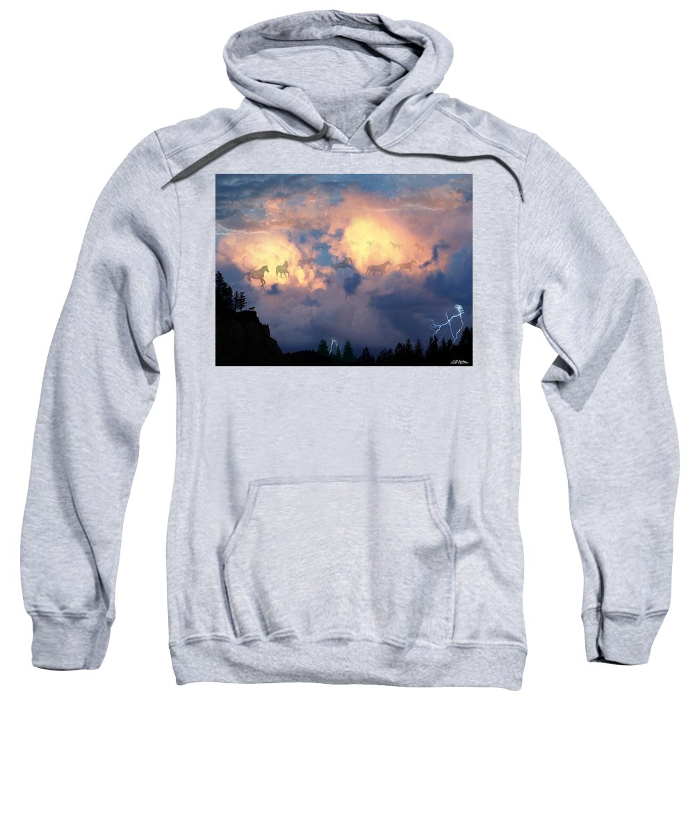 Horses Sweatshirt featuring the digital art Heavenly Carousel by Barbara Stephens