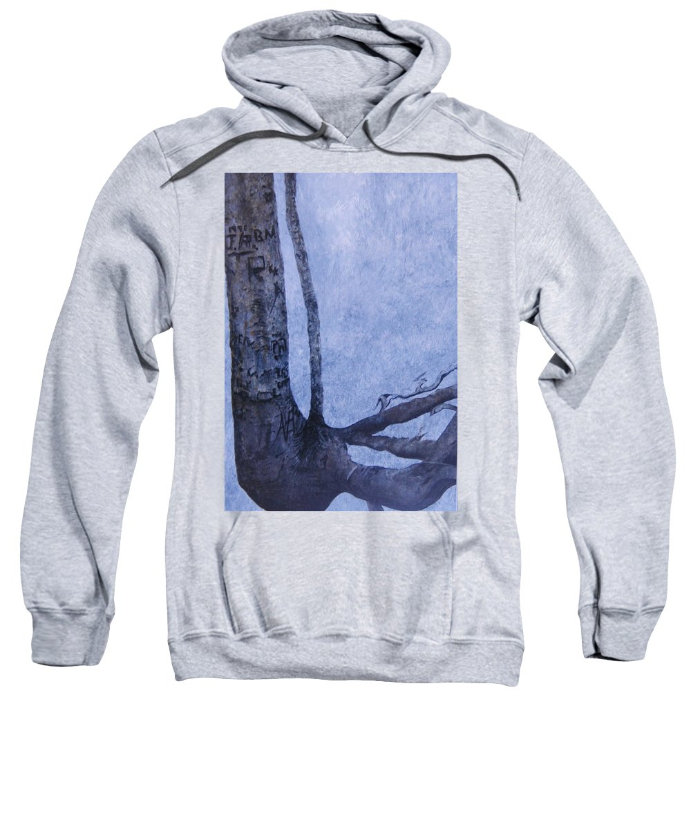 Tree Trunk Sweatshirt featuring the painting Hedden Park II by Leah Tomaino