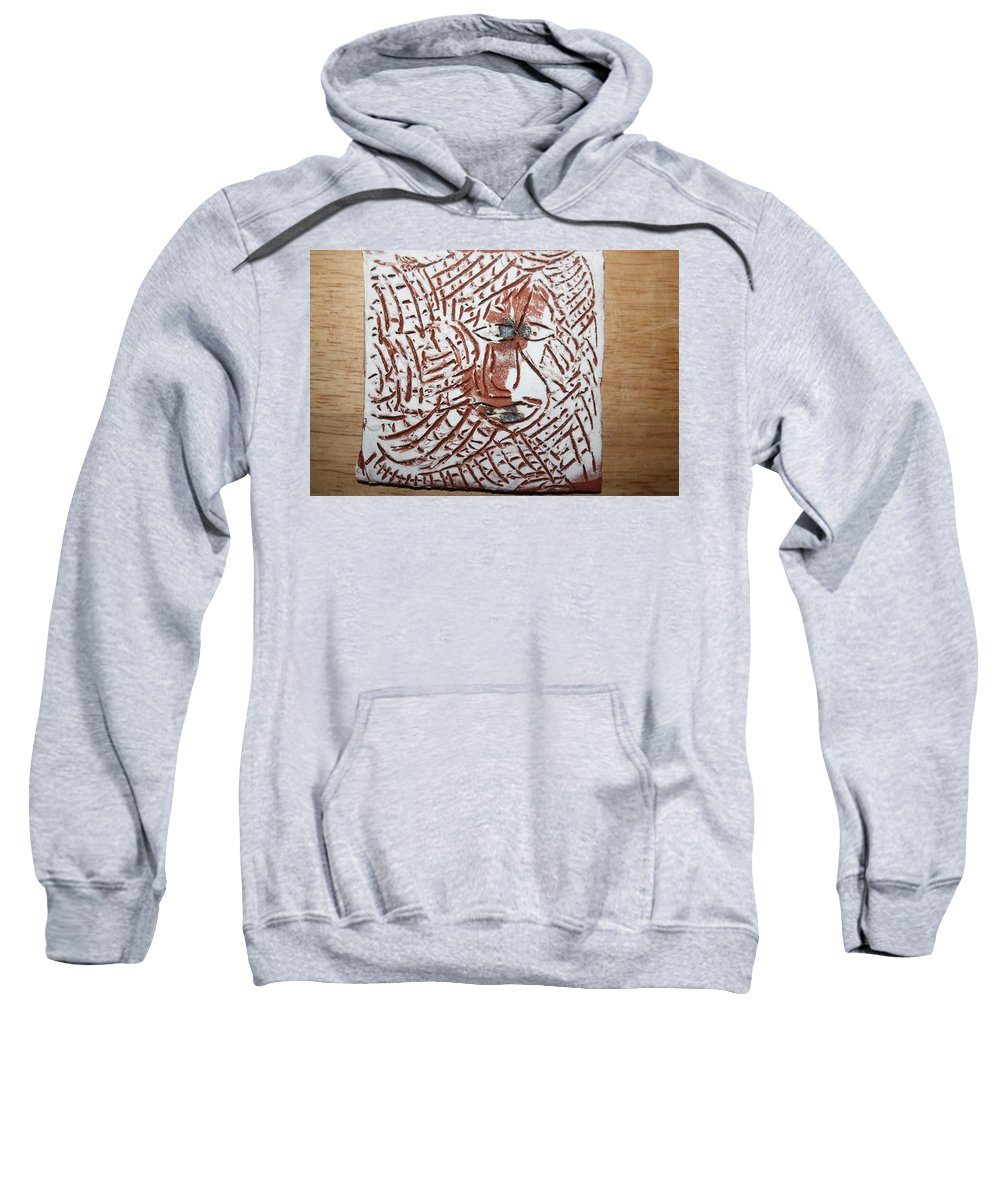 Jesus Sweatshirt featuring the ceramic art Heights - Tile by Gloria Ssali