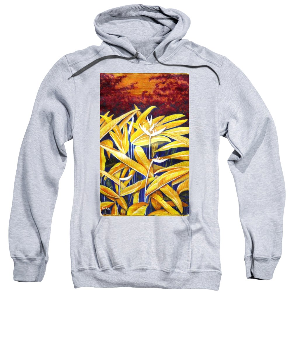 Heliconia Sweatshirt featuring the painting Heliconia by Usha Shantharam