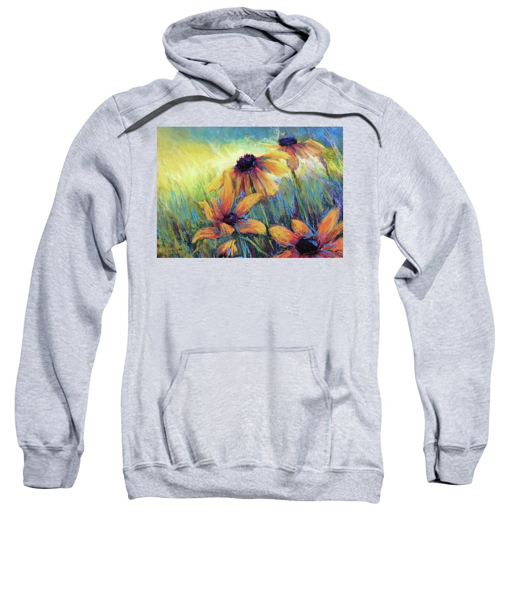 Black Eyed Susans Sweatshirt featuring the painting Hello Sunshie by Susan Jenkins