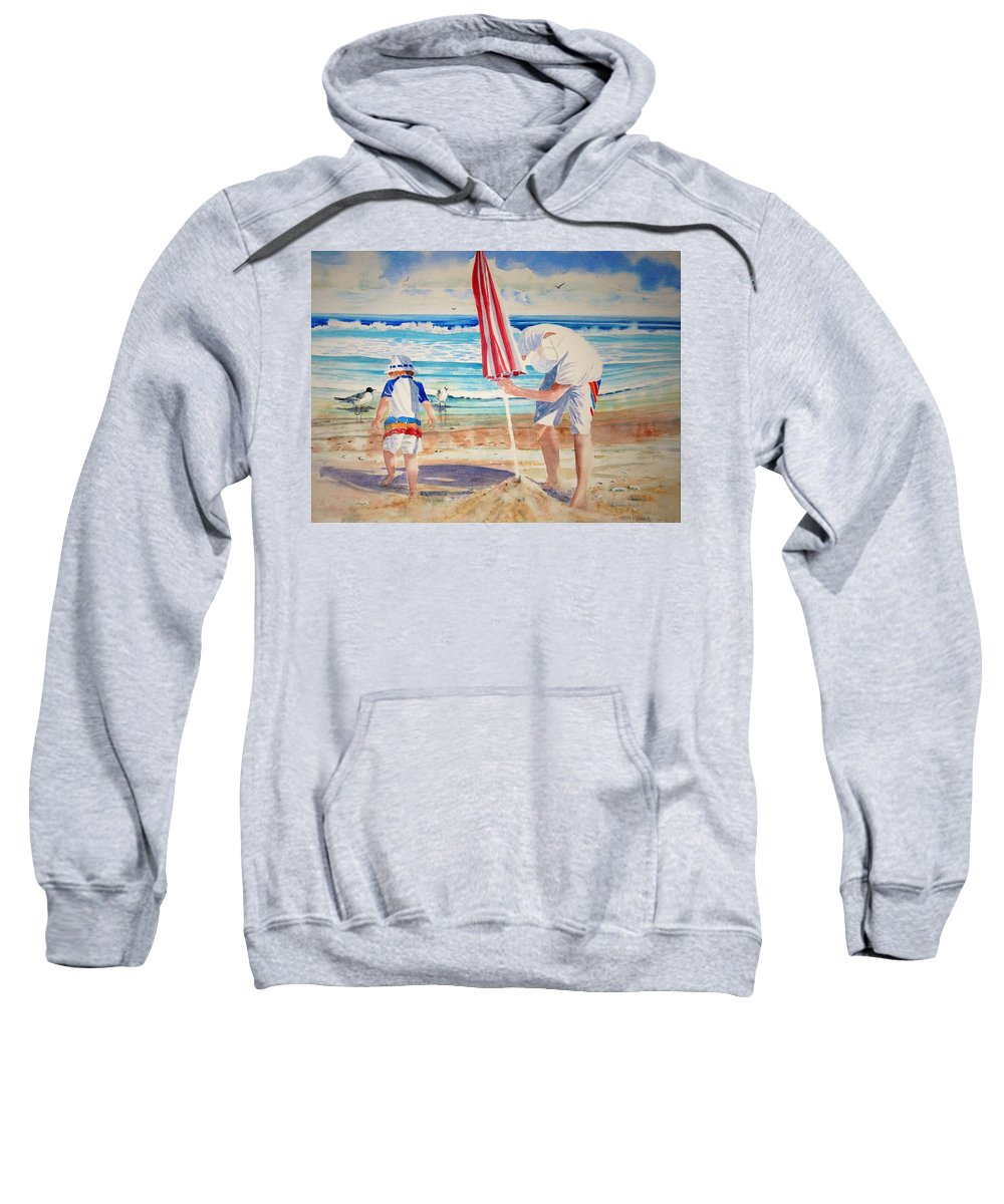 Beach Sweatshirt featuring the painting Helping Dad Set Up The Camp by Tom Harris