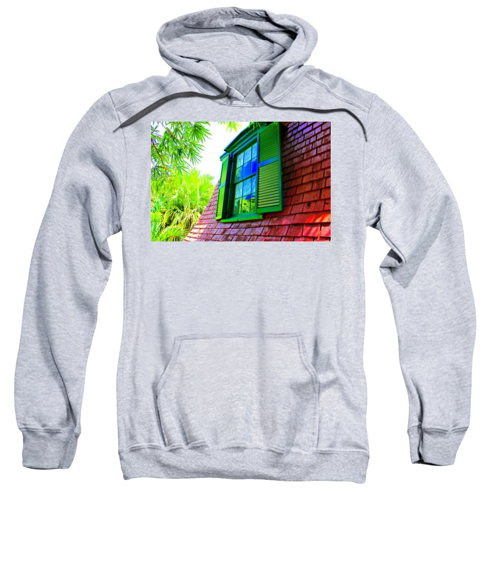 Ernest Hemingway Home And Museum Sweatshirt featuring the photograph Hemingway's Window by Iryna Goodall