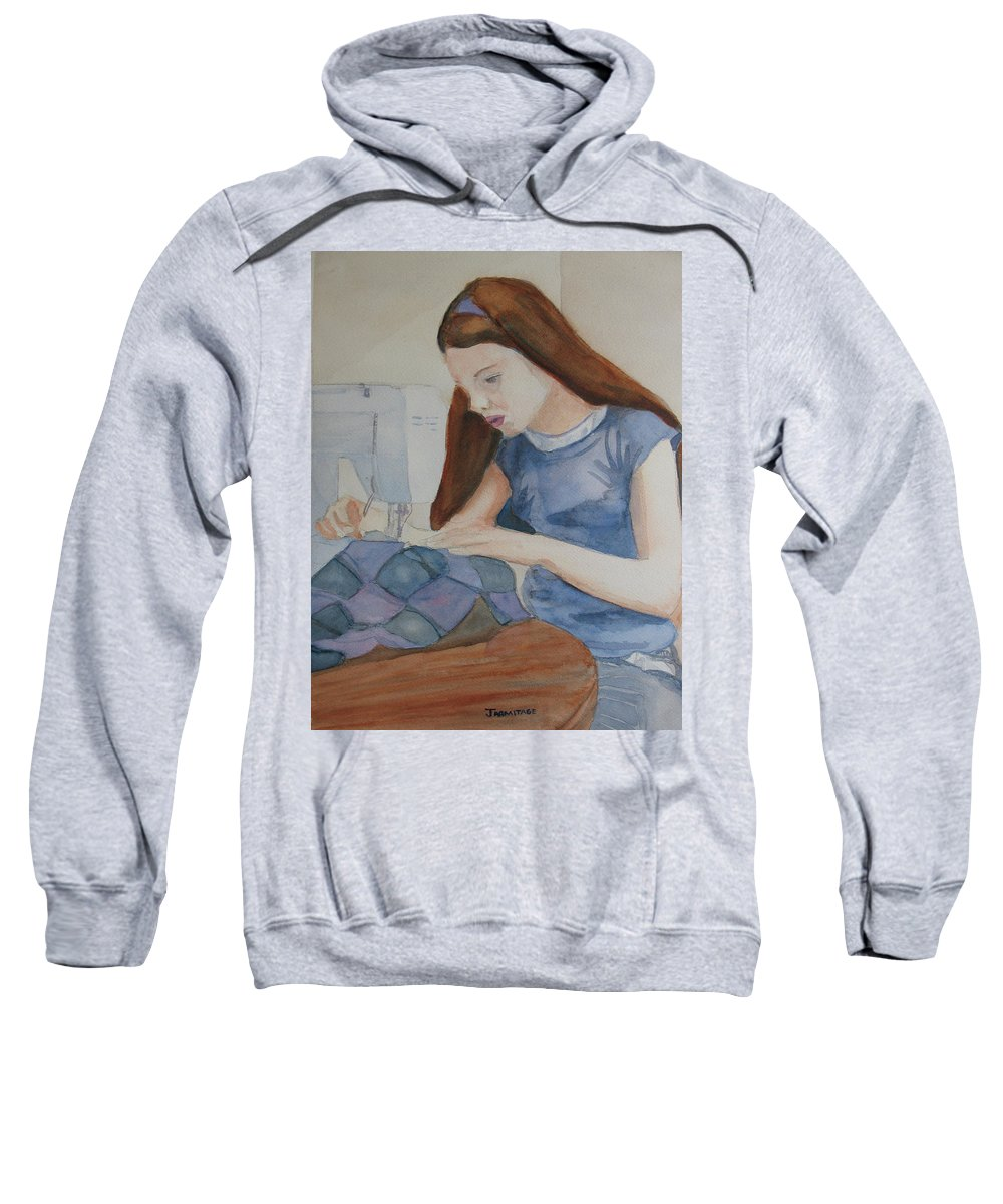 Girl Sweatshirt featuring the painting Her First Quilt by Jenny Armitage