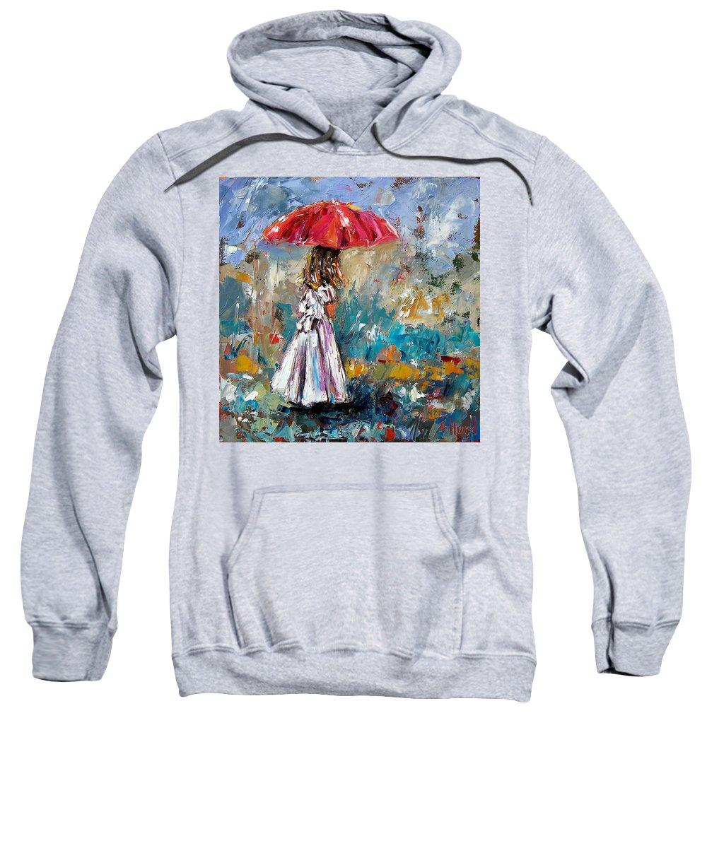 Children Art Sweatshirt featuring the painting Her White Dress by Debra Hurd