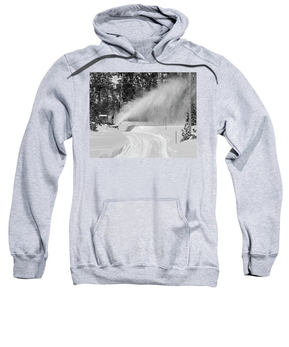 Sierra Nevada Mountains Sweatshirt featuring the photograph Here Comes That Snowblower Again by Jim Thompson