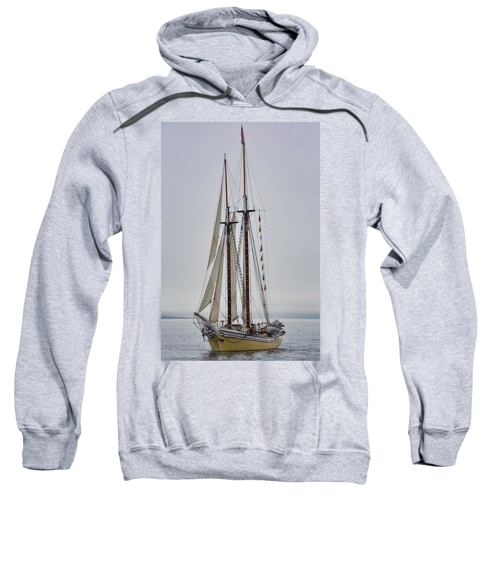 Windjammer Sweatshirt featuring the photograph Heritage In The Mist by Jesse MacDonald