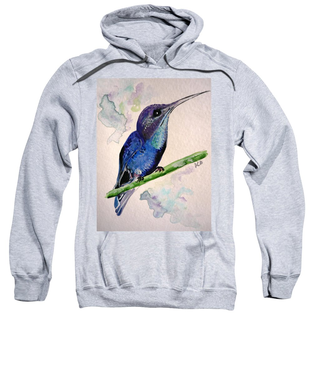 Hummingbird Painting Bird Painting Tropical Caribbean Painting Watercolor Painting Sweatshirt featuring the painting hHUMMINGBIRD 2  by Karin Dawn Kelshall- Best