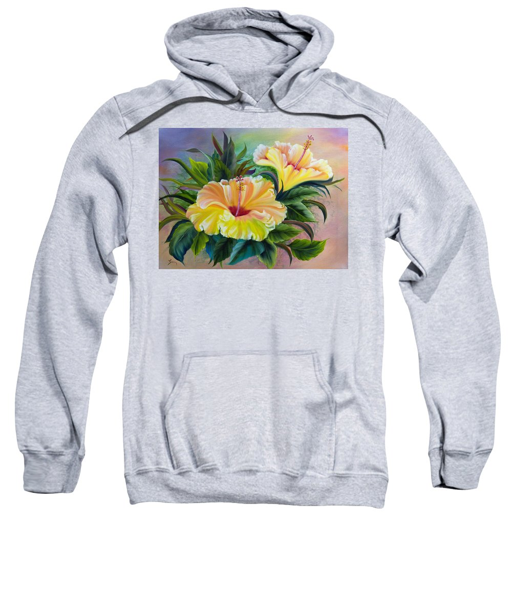 Hibiscus Sweatshirt featuring the painting Hibiscus by Dee Carpenter