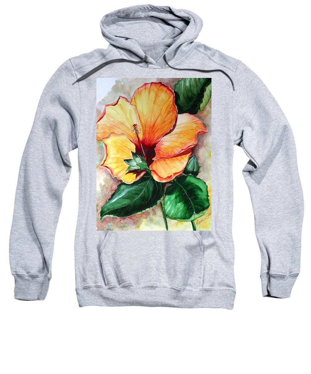 Flower Paintings Bloom Paintings Caribbean Paintings Floral Paintings Tropical Paintings Yellow Hibiscus Paintings Greeting Card Paintings Canvas Print Paintings Poster Art Paintings Sweatshirt featuring the painting Hibiscus Sunny by Karin Dawn Kelshall- Best