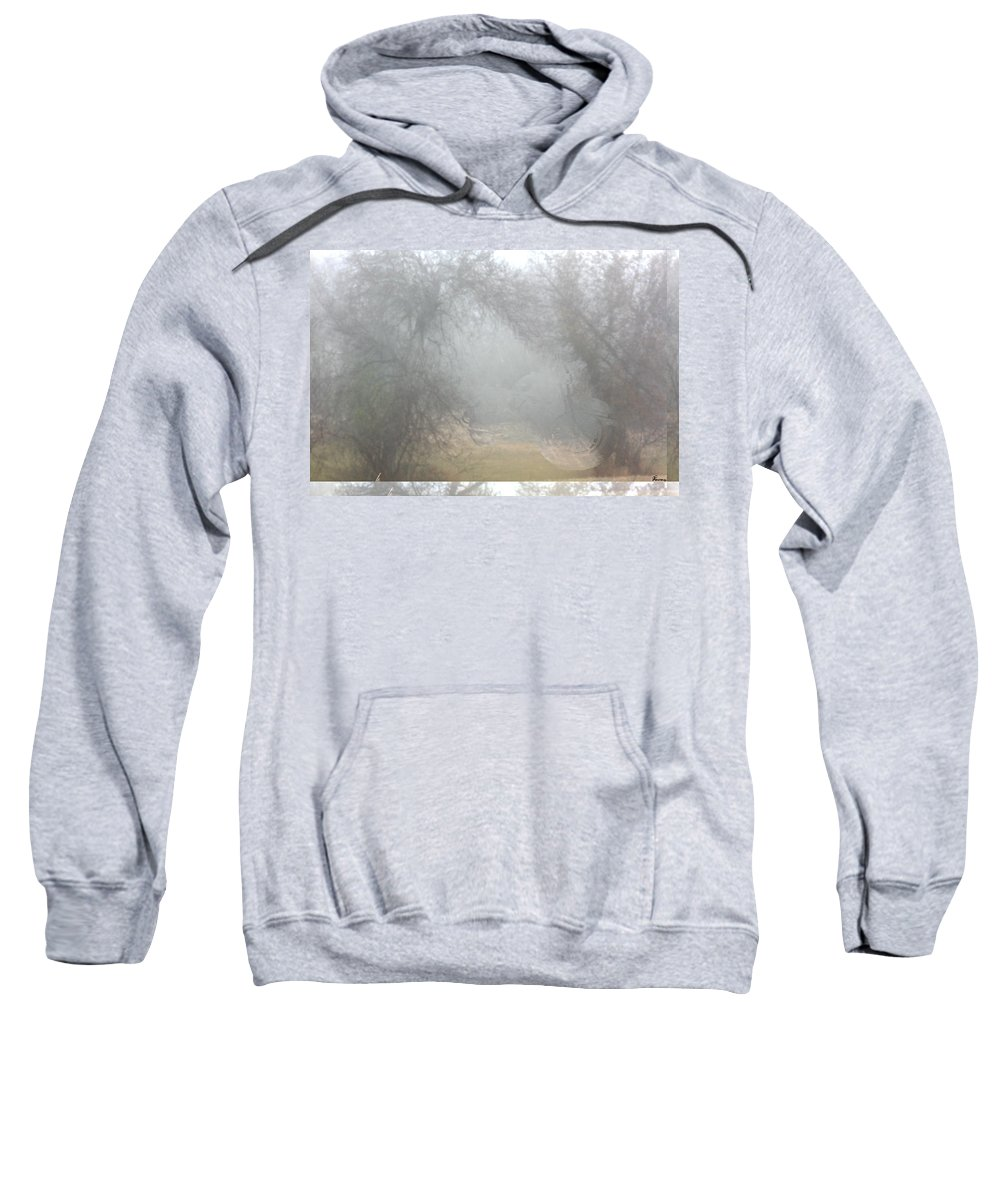 Harley Davidson Motorcycle Bike Fog Forest Hidden Trees Sweatshirt featuring the photograph Hidden Harley by Andrea Lawrence